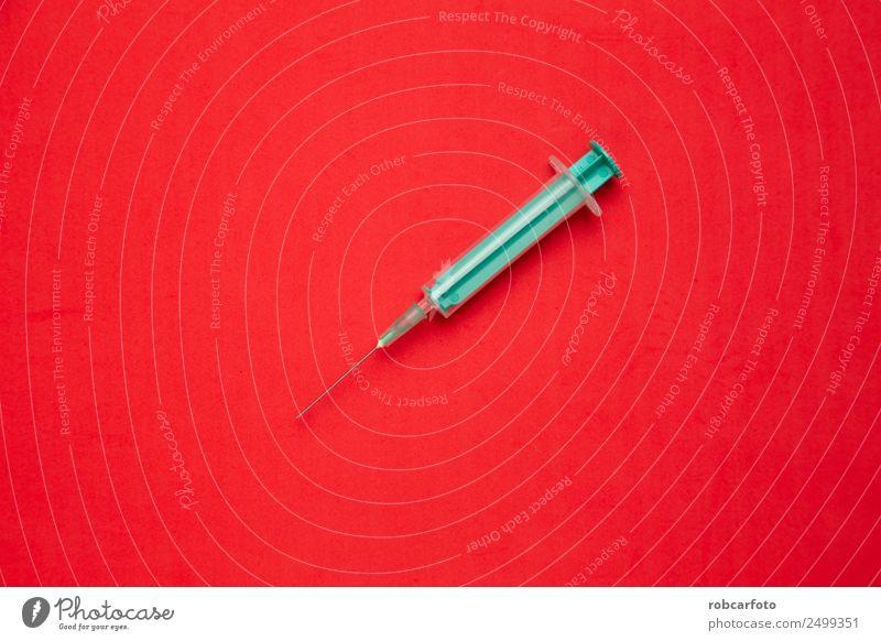 Medizinische Spritze auf farbigem Hintergrund. Behandlung Krankheit Medikament Wissenschaften Labor Krankenhaus Kunststoff dünn weiß vereinzelt Nadel Gesundheit