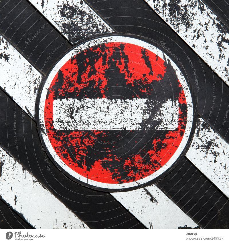 Halt weiß rot schwarz Stil Wege & Pfade Linie Arbeit & Erwerbstätigkeit Schilder & Markierungen Design Verkehr Streifen fahren Ziel stoppen Zeichen