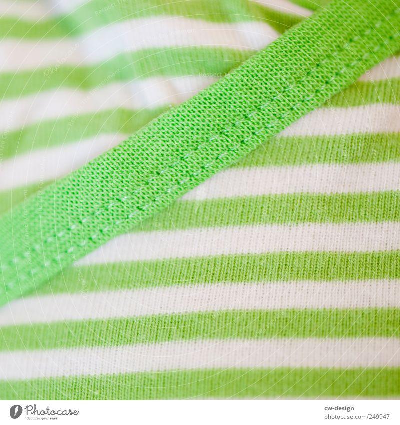 QUERSTREIFEN MACHEN DICK weiß grün Farbe Stil Linie hell elegant verrückt frisch Bekleidung Streifen Stoff T-Shirt Freundlichkeit Pullover trendy