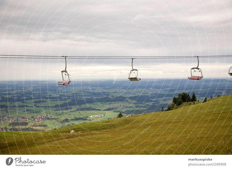 sommerpause Ferien & Urlaub & Reisen Ferne Freiheit Berge u. Gebirge Landschaft Feld Horizont Ausflug Tourismus leer Alpen Stahlkabel Bayern Sommerurlaub Tal