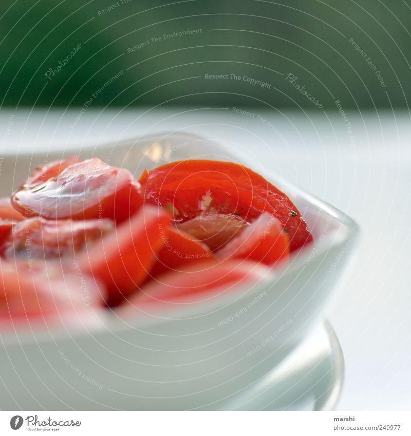 Beilage zum Grillfleisch grün Sommer rot Ernährung Lebensmittel Gemüse Geschirr Teller Picknick Tomate Schalen & Schüsseln saftig Salat Salatbeilage Vegetarische Ernährung Tomatensalat