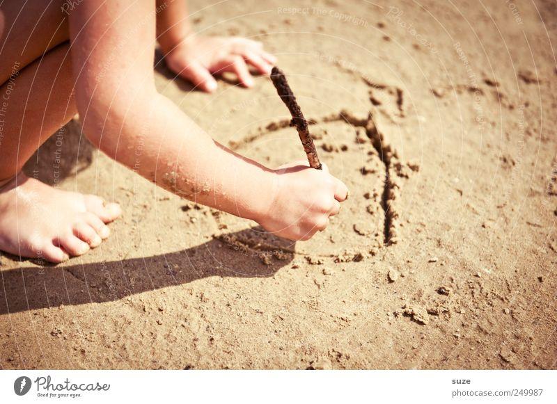 Sandmann Freizeit & Hobby Spielen Ferien & Urlaub & Reisen Sommer Strand Mensch Kind Kindheit Arme Hand Beine 1 Natur Klima Schönes Wetter Zeichen zeichnen