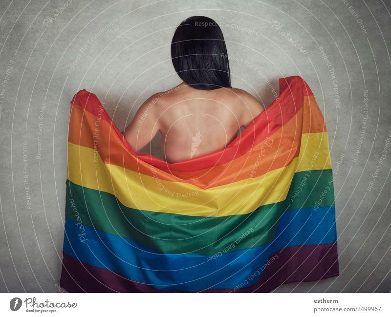 LGTB Schwulenstolz Lifestyle Freude Freiheit Feste & Feiern Mensch feminin Homosexualität Junge Frau Jugendliche Erwachsene 1 30-45 Jahre Fahne Liebe Sex