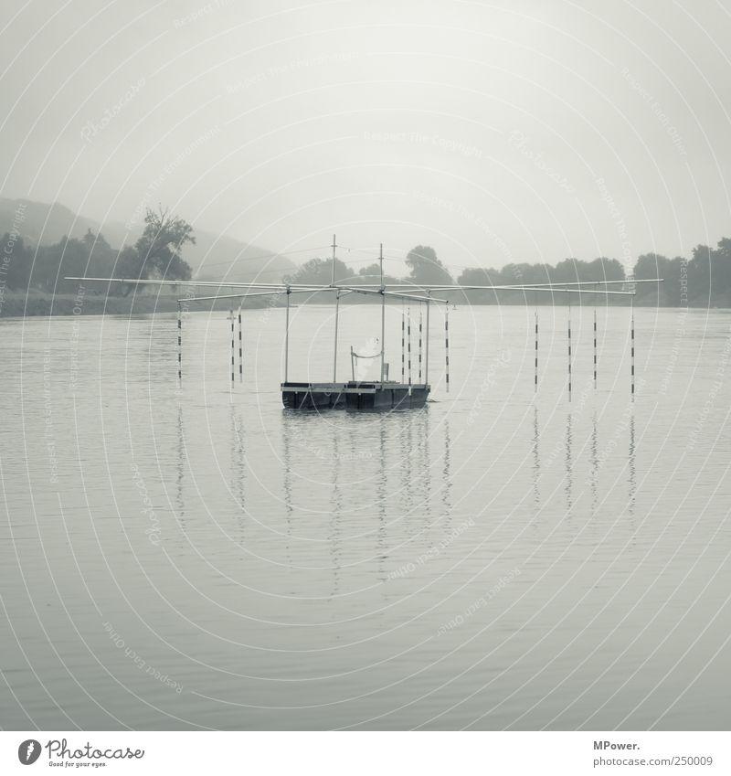Parcours Sportstätten Natur Landschaft schlechtes Wetter Nebel Flussufer nass Elbe Sportgerät Barriere Wasser grau bedeckt ruhig trist Dresden Schwarzweißfoto