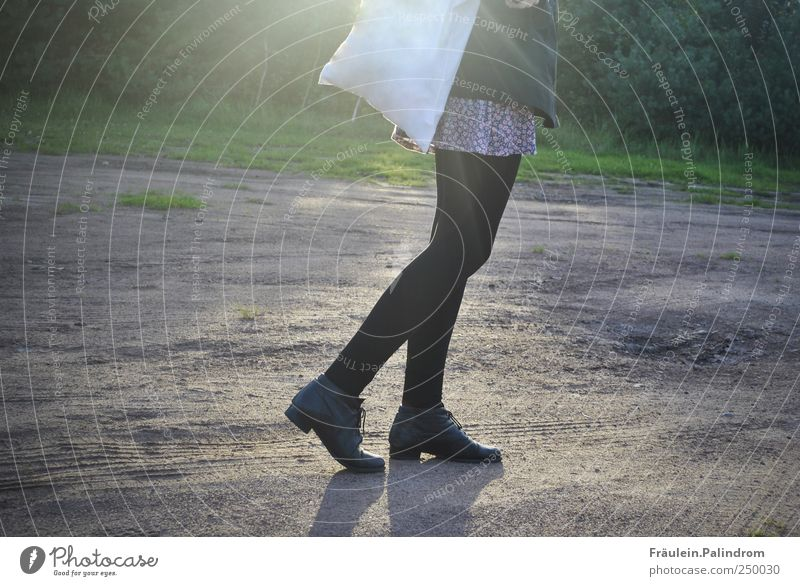 Lichtspaziergang. feminin Beine Fuß 1 Mensch gehen dünn Mobilität Textfreiraum links Textfreiraum rechts Schatten