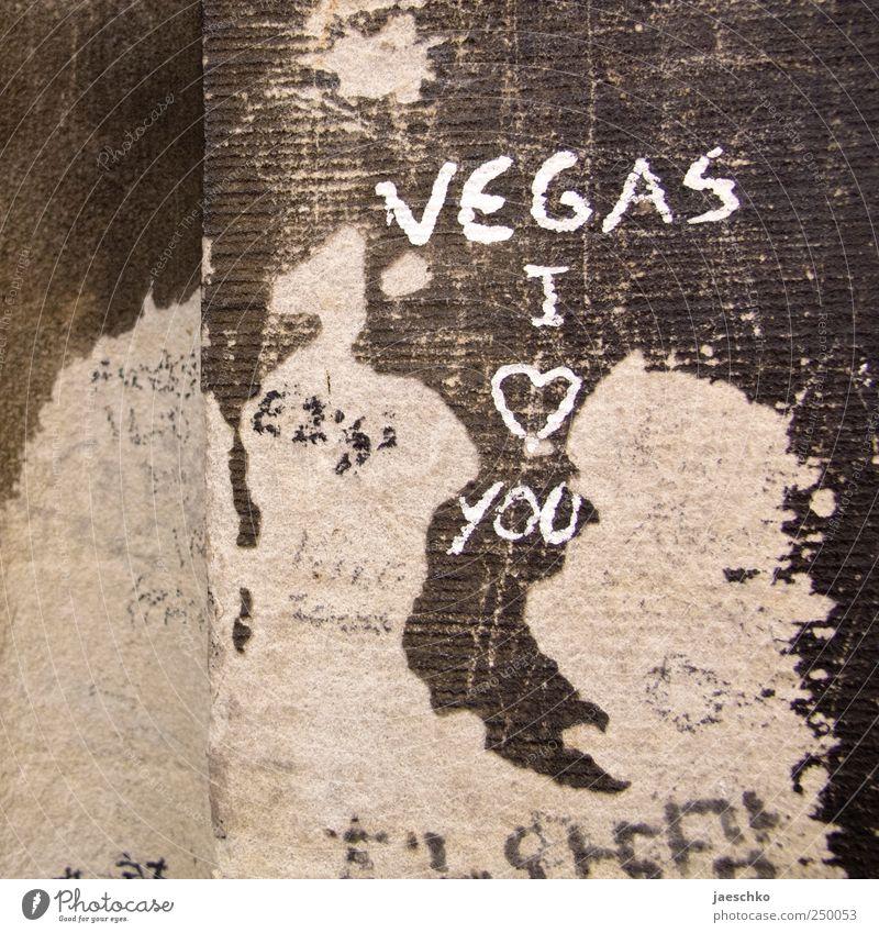 Nie wieder Hütchenspiel Liebe Wand Graffiti Stein Beton Schriftzeichen Vergänglichkeit Zeichen Verfall Ruine taggen Schmiererei Kritzelei Glücksspiel Las Vegas