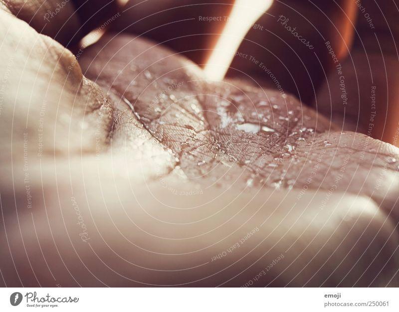 Rinnsal Wasser Hand Haut Wassertropfen nass Hautfalten feucht Durst Dürre Lebenslinie Mensch Makroaufnahme