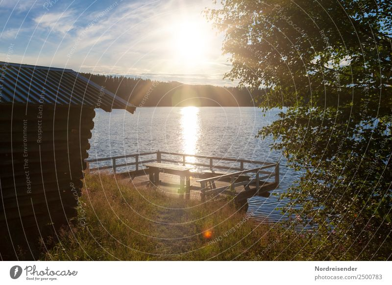 Campingplatz in Schweden Ferien & Urlaub & Reisen Freiheit Sommer Sommerurlaub Sonne Natur Landschaft Wasser Sonnenaufgang Sonnenuntergang Schönes Wetter Wiese