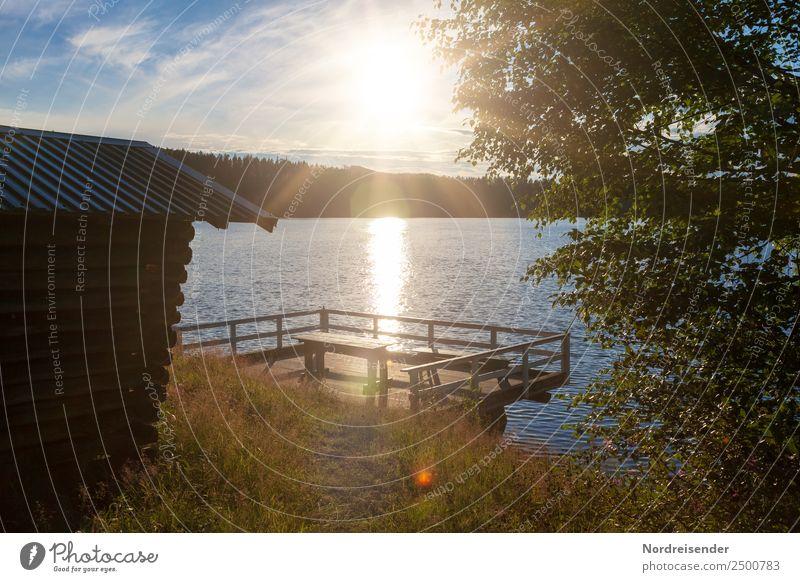 Campingplatz in Schweden Natur Ferien & Urlaub & Reisen Sommer Wasser Sonne Landschaft Erholung Einsamkeit ruhig Wald Wiese Freiheit See Stimmung Zufriedenheit