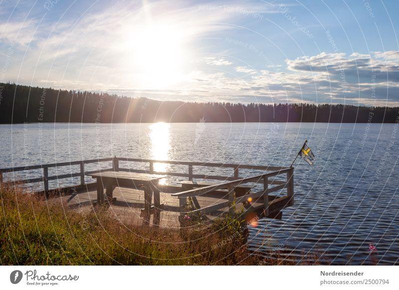 Schwedischer Sommer Ferien & Urlaub & Reisen Natur Wasser Landschaft Sonne Wolken ruhig Wald Tourismus Freiheit See Stimmung Tisch Idylle Schönes Wetter