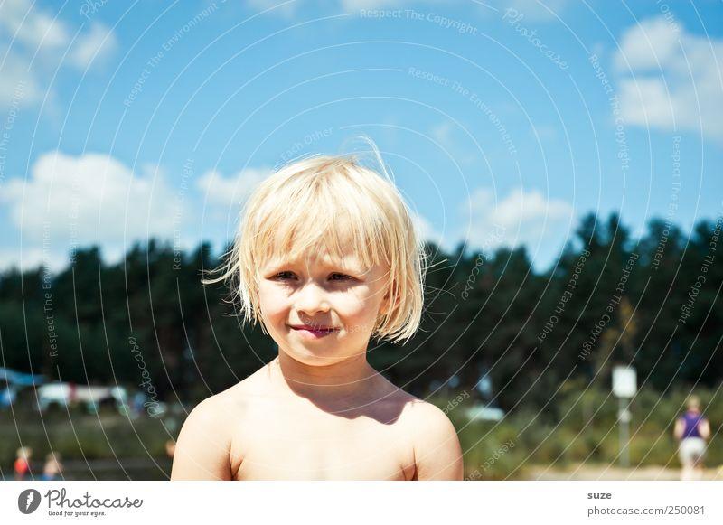 Schönes Wochenende Mensch Kind Himmel blau grün schön Baum Ferien & Urlaub & Reisen Mädchen Wolken Gesicht Junge Kopf Haare & Frisuren klein See