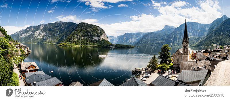 Panorama über den Hallstätter See Ferien & Urlaub & Reisen Tourismus Ausflug Ferne Freiheit Sightseeing Städtereise Kreuzfahrt Berge u. Gebirge wandern Umwelt