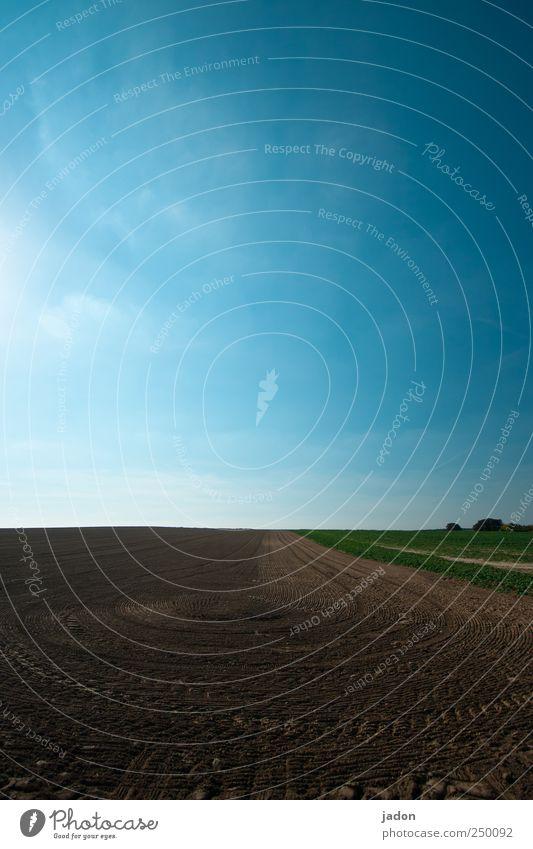 agrikultur Himmel blau Landschaft Sand Linie Kunst braun Feld Erde rund Spuren Dorf Schönes Wetter Kurve Reifenprofil Symmetrie