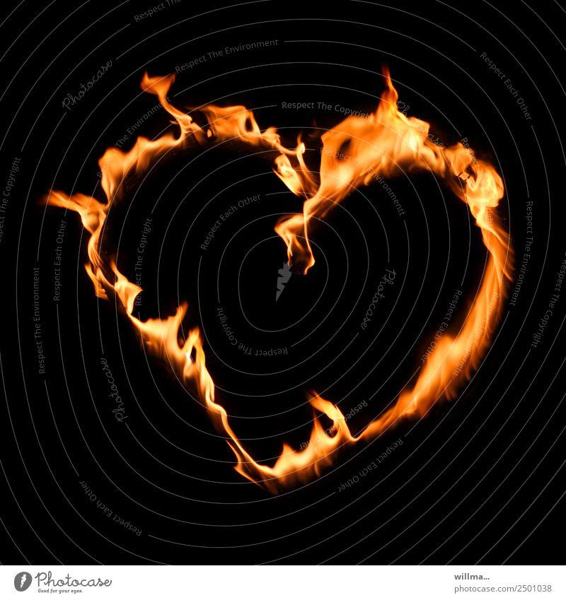 herz statt hetze Valentinstag Muttertag Feuer Herz Treue Liebe brennen Textfreiraum Menschlichkeit Parole Farbfoto Experiment Hintergrund neutral Nacht