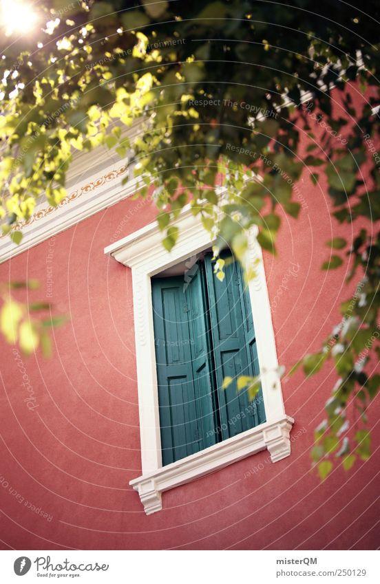 Trautes Heim. rot Sommer Fenster Fassade ästhetisch geheimnisvoll fantastisch Dorf Italien Reichtum verstecken edel Sommerurlaub Venedig Villa Ornament