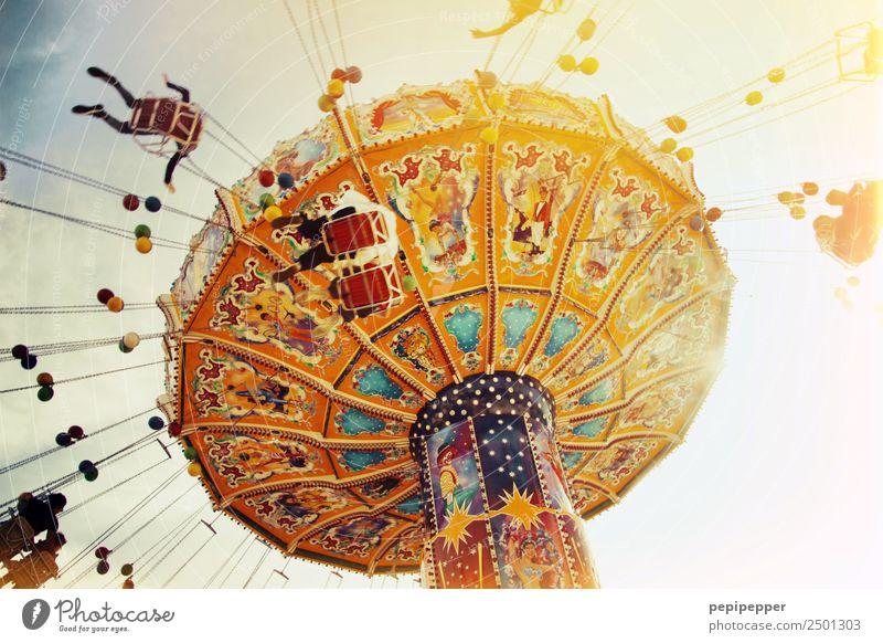 Karussell Freizeit & Hobby Ausflug Zeitmaschine Menschenmenge Veranstaltung Jahrmarkt Luftverkehr Zeichen Ornament Bewegung drehen fliegen schreien elegant