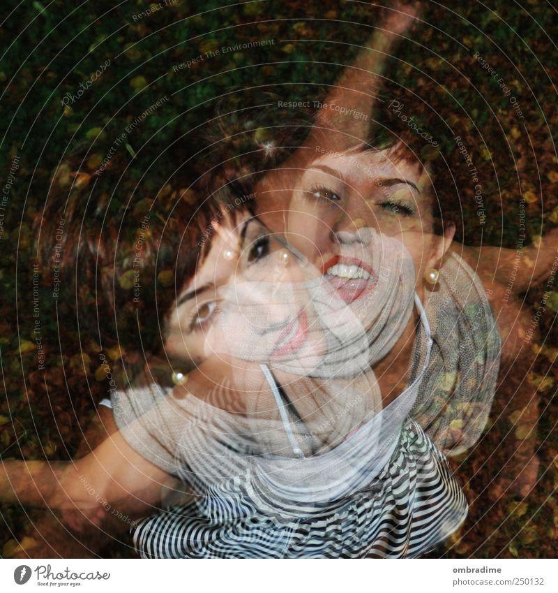2für1 Frau Mensch Jugendliche Freude feminin Erwachsene lustig Tanzen Energie drehen Doppelbelichtung 18-30 Jahre Junge Frau 13-18 Jahre Unbeschwertheit