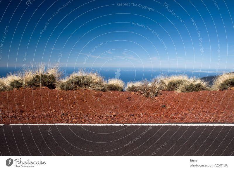 Stop Himmel blau Meer Straße grau braun Erde außergewöhnlich Asphalt Vulkan Teneriffa