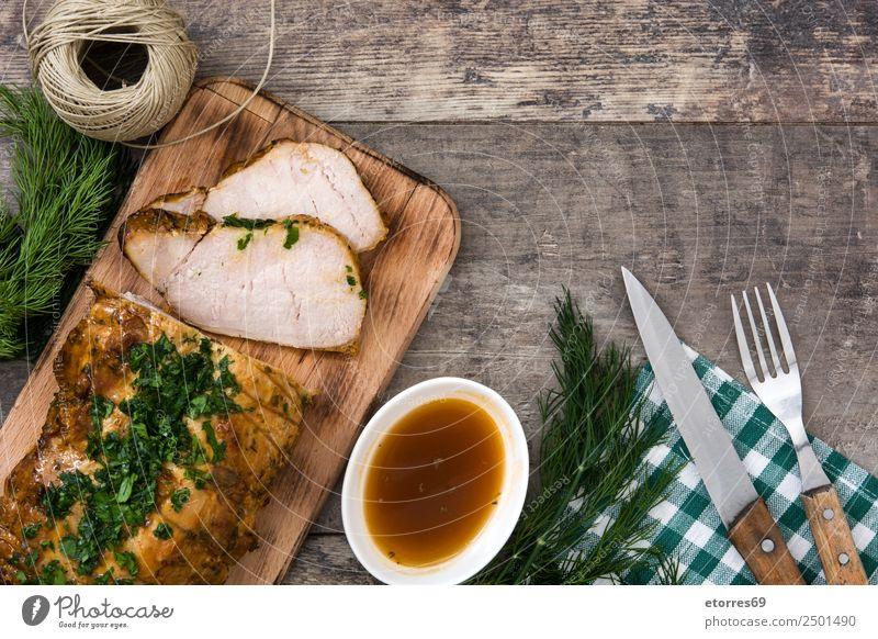 Gebratenes Schweinefleisch gebraten grillen gebastelt Weihnachten & Advent Tradition Lende Mahlzeit Lebensmittel Gesunde Ernährung Speise Foodfotografie