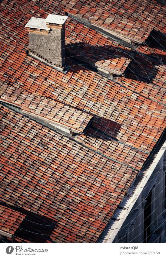Aufs Dach gestiegen Dorf Kleinstadt Altstadt Menschenleer Haus Bauwerk Gebäude Dachrinne Schornstein alt rot Ziegeldach Dachziegel mediterran Süden Italien