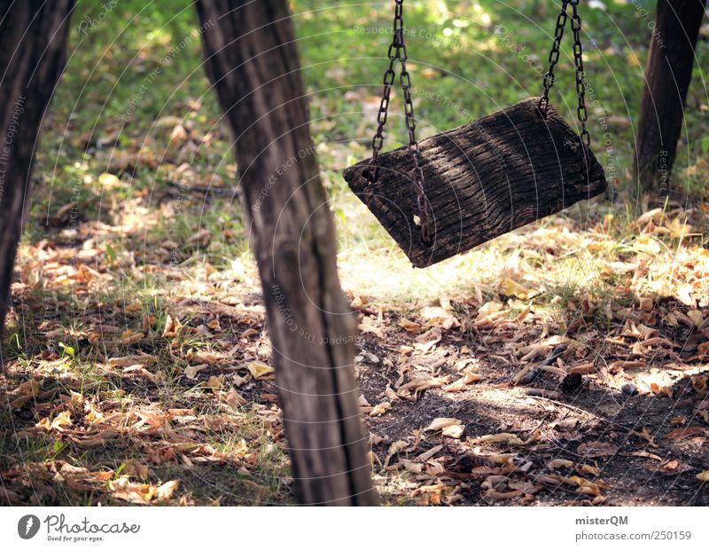 Absprung Freizeit & Hobby Spielen Ausflug Freiheit Sommer schaukeln Schaukel Spielplatz Spielzeug Freude springen Einsamkeit Verfall Vergänglichkeit Holz grün