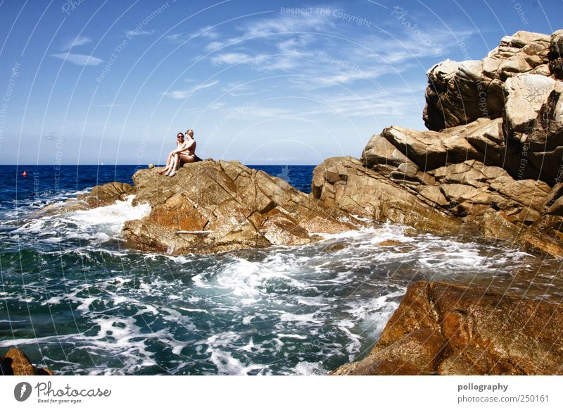 Badenixen Mensch Himmel Natur Wasser Ferien & Urlaub & Reisen Meer Wolken Ferne Leben Freiheit Freundschaft Horizont Wellen sitzen Abenteuer Insel
