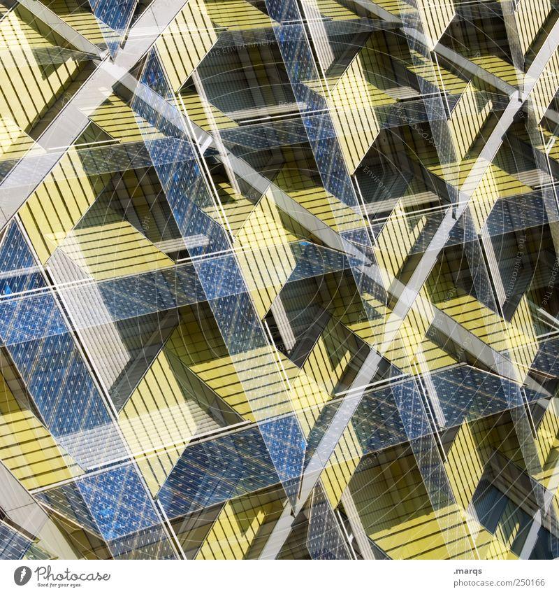 Solar blau gelb Farbe Stil Linie Fassade Design verrückt Perspektive Zukunft einzigartig außergewöhnlich Sonnenenergie Doppelbelichtung innovativ Solarzelle