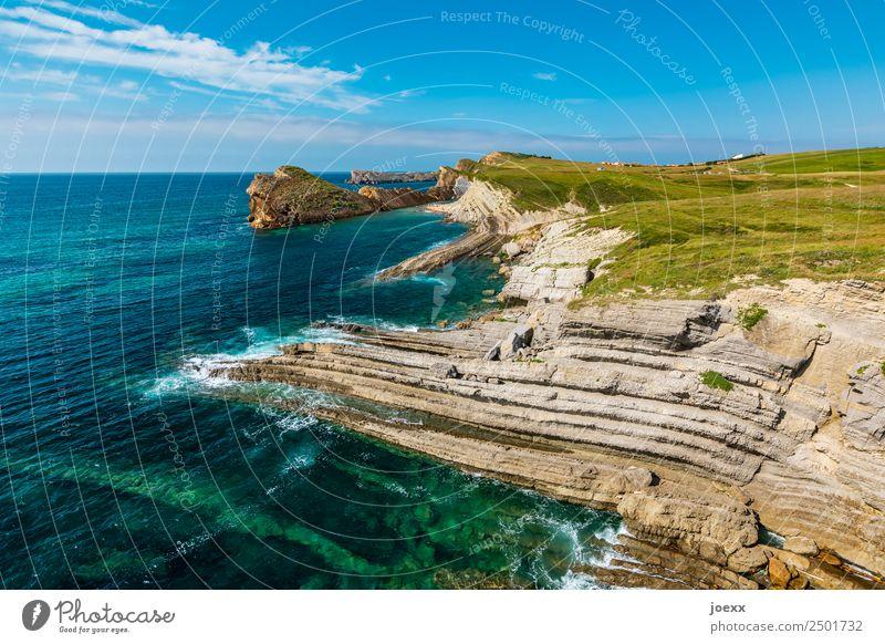 Felsige Steilküste am mit grünen Wiesen und blauem Himmel Felsen Weitwinkel Starke Tiefenschärfe Natur Außenaufnahme Küste steilhang Schönes Wetter Landschaft