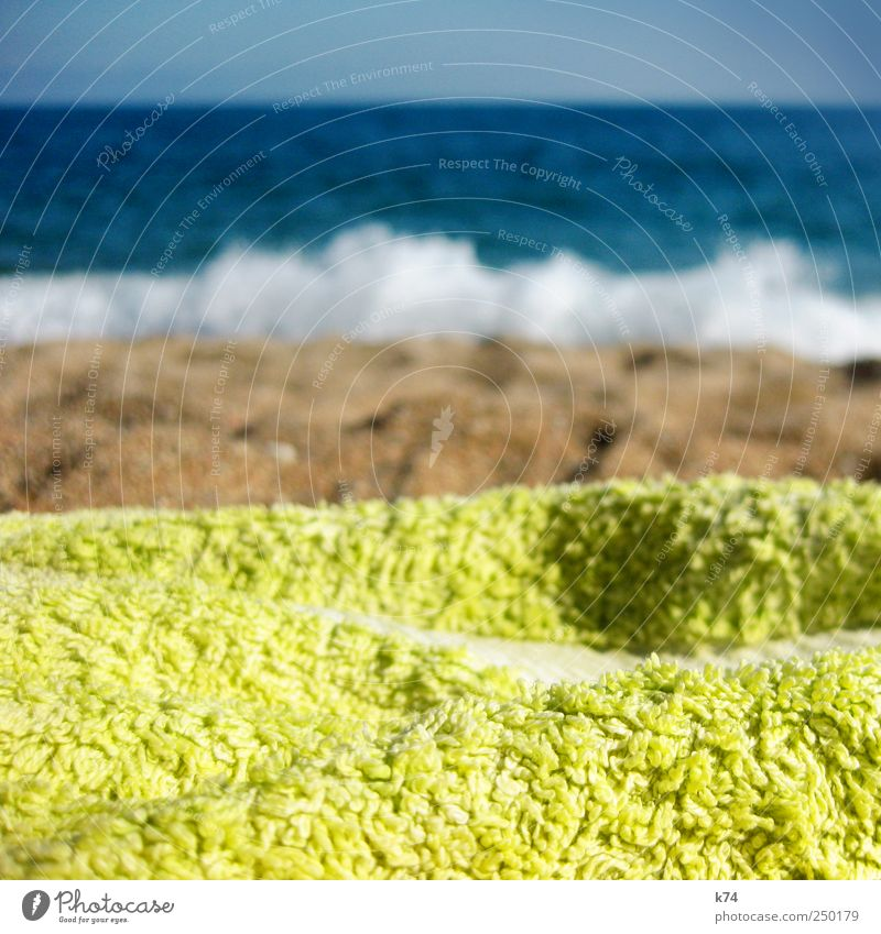Rauschen Sand Wasser Himmel Wolkenloser Himmel Sonnenlicht Sommer Schönes Wetter Wellen Küste Strand Meer Schwimmen & Baden liegen Blick heiß hell blau braun