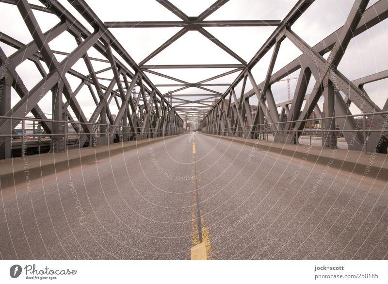 Neue Achse Ost (Teilstück) Brücke Baakenbrücke Verkehrswege Straße Metall Linie Streifen eckig historisch Mittelpunkt Symmetrie Wege & Pfade Fahrbahnmarkierung