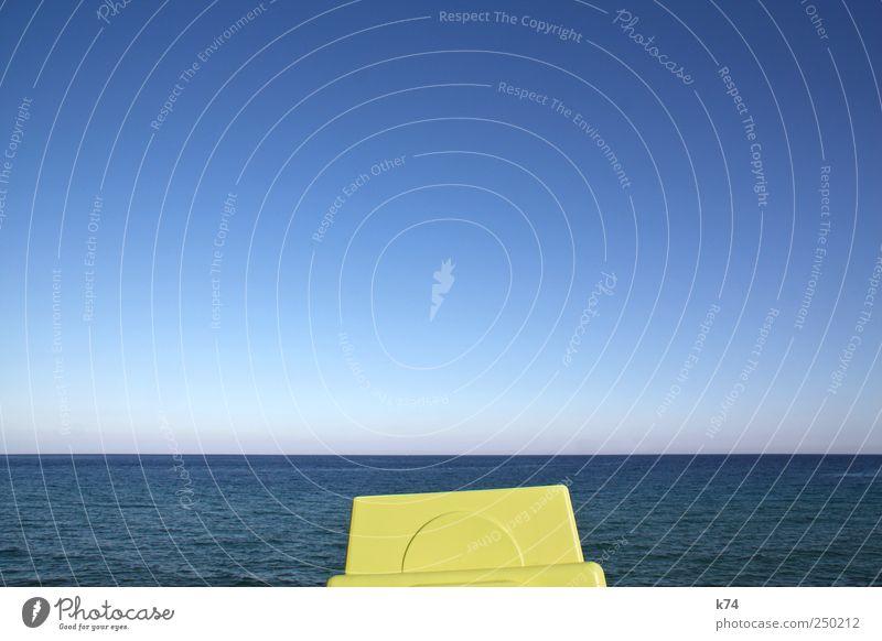 cosa Landschaft Wasser Himmel Wolkenloser Himmel Sommer Schönes Wetter Meer Mittelmeer Freundlichkeit frisch blau gelb grün ruhig Freiheit Horizont Klarheit