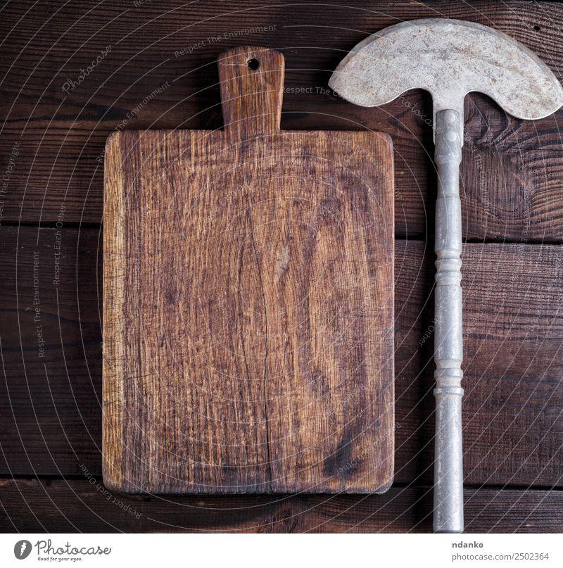 Beil zum Schneiden von Fleisch oder Gemüse Messer Küche Arbeit & Erwerbstätigkeit Werkzeug Holz Metall Stahl Rost alt dreckig retro braun gerundet Schneidebrett