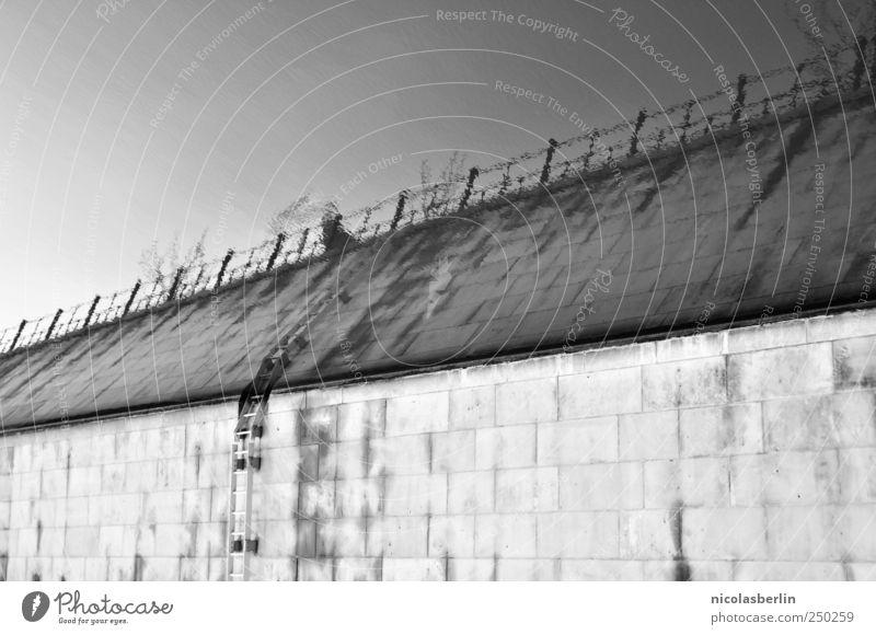 Die Mauer muss weg Himmel Wasser Wand Umwelt Gefühle Horizont Angst Fassade Treppe Schwimmen & Baden Abenteuer Brücke außergewöhnlich Hoffnung Fluss