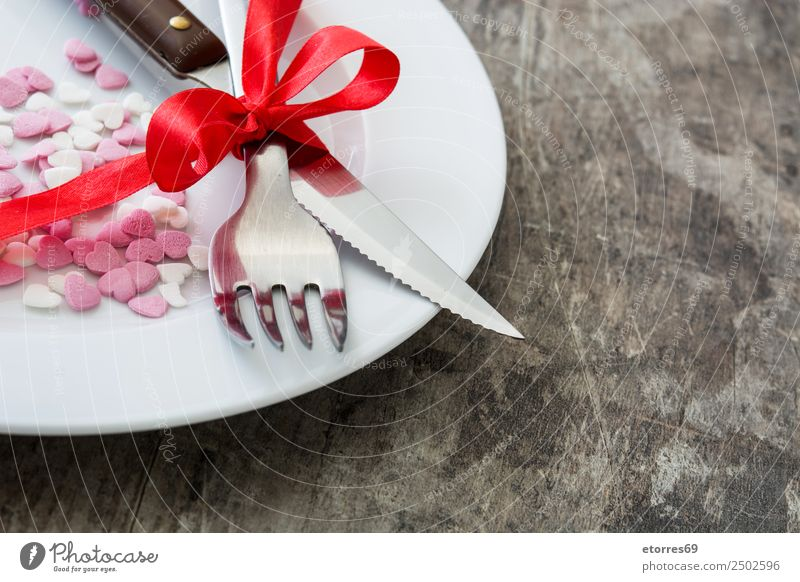 Valentinstag-Dinner. Abendessen Kekse Dessert Lebensmittel Gesunde Ernährung Foodfotografie romantisch Herz Februar süß Bonbon Dekoration & Verzierung Zuckerguß