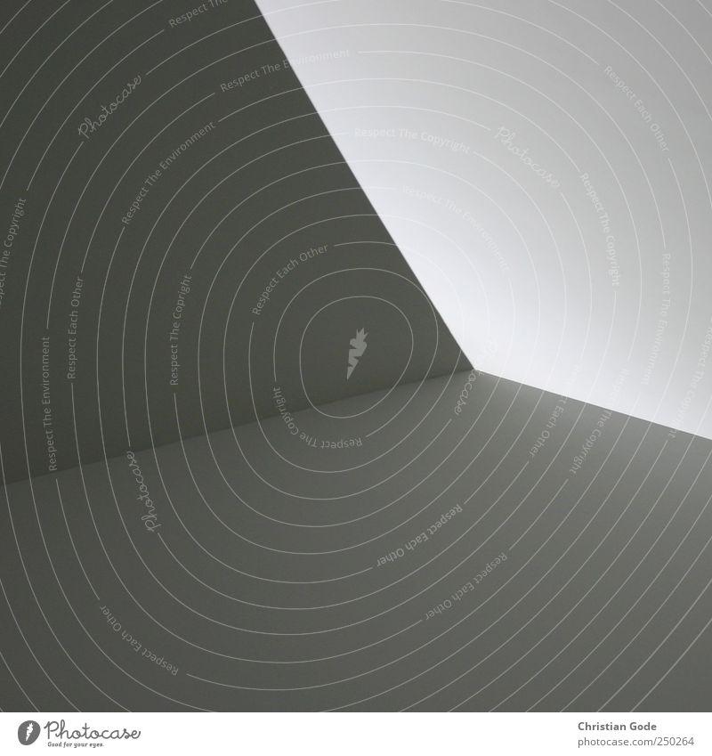 Drei Vierecke und ein Fünfeck weiß schwarz Wand grau Architektur Mauer Gebäude Linie Bauwerk Decke Rechteck reduzieren