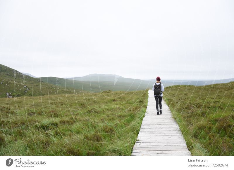 wandern - horizont - herrlich - Irland Ferien & Urlaub & Reisen Tourismus Ausflug Ferne Berge u. Gebirge Frau Erwachsene 1 Mensch 18-30 Jahre Jugendliche Umwelt