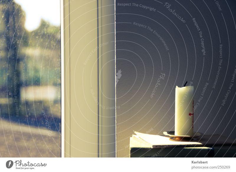 ΑΩ Häusliches Leben Wohnung Dekoration & Verzierung Fenster Fensterscheibe Trauerfeier Beerdigung Bildung Buch Mauer Wand Kerze Zeichen Sehnsucht