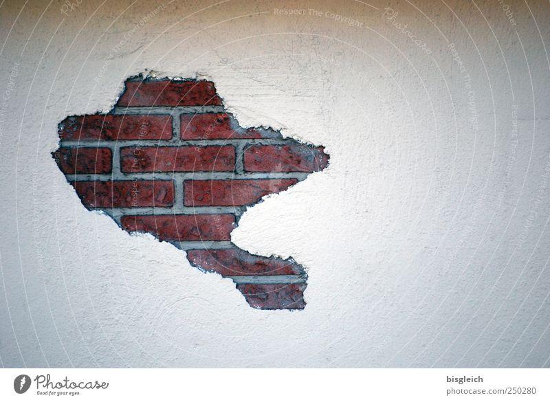 Wandkarte weiß rot Stein Mauer Backstein Landkarte Kontinente ziegelrot