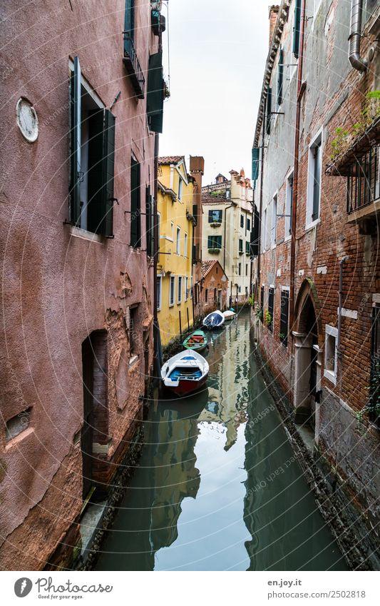 Nah am Wasser Ferien & Urlaub & Reisen Sightseeing Städtereise Sommerurlaub Venedig Italien Europa Stadt Altstadt Haus Gebäude Mauer Wand Fassade Motorboot