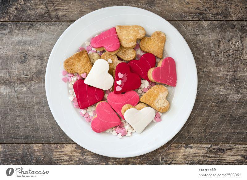 rot Liebe Lebensmittel Feste & Feiern braun rosa Dekoration & Verzierung Herz süß Hochzeit Süßwaren gut Frühstück Dessert Teller Backwaren