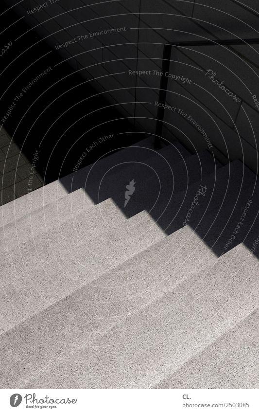 stufen Menschenleer Architektur Mauer Wand Treppe Treppengeländer ästhetisch dunkel eckig grau Zufriedenheit Wege & Pfade Kontrast Gegenteil abwärts