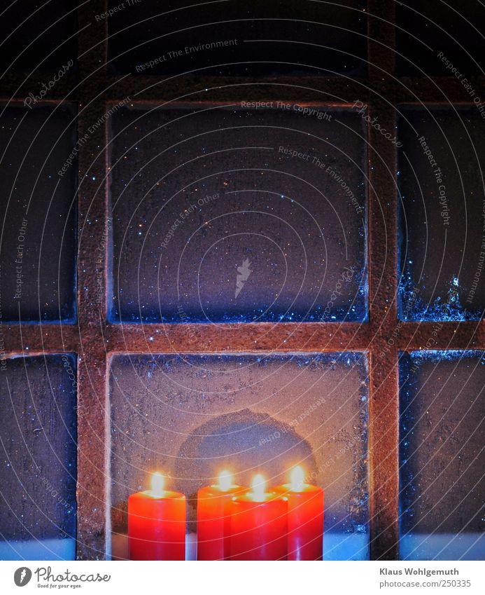 """""""Vorfreude schönste Freude..."""" Winter Schneefall Glas Gold Stahl Kristalle frieren glänzend leuchten blau gelb rot friedlich Menschlichkeit dankbar Hoffnung"""