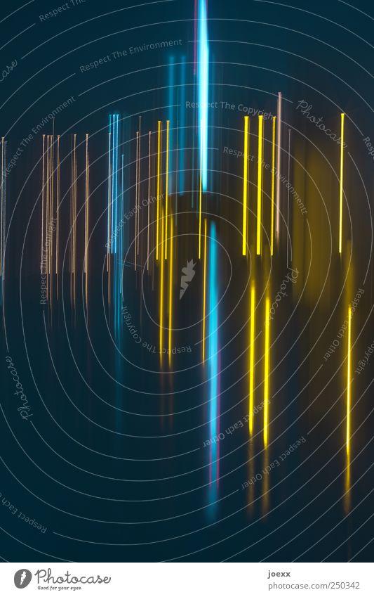 Schlaflos Linie hell blau gelb schwarz Bewegung Farbfoto mehrfarbig Experiment abstrakt Muster Menschenleer Lichterscheinung Langzeitbelichtung Unschärfe