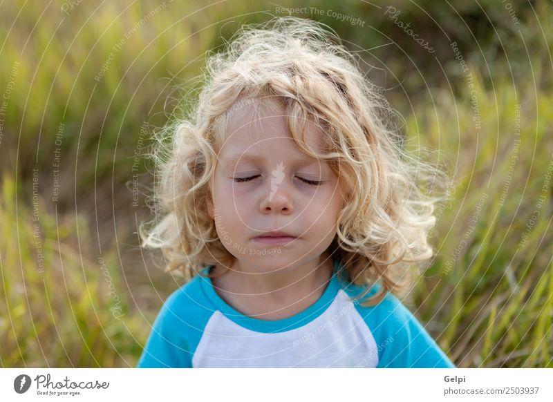 Kleinkind mit langen blonden Haaren Glück schön Gesicht Sommer Kind Mensch Baby Junge Mann Erwachsene Kindheit Umwelt Natur Pflanze Denken Lächeln klein lustig
