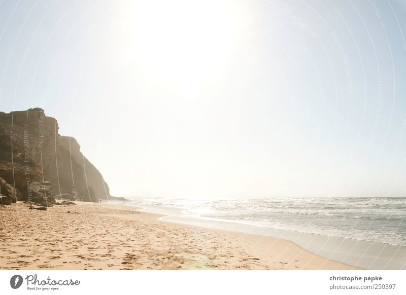 Praia de Monte Clèrigo Ferien & Urlaub & Reisen Sommer Sommerurlaub Sonne Strand Meer Wellen Felsen Küste Bucht heiß Portugal Atlantik Algarve Farbfoto