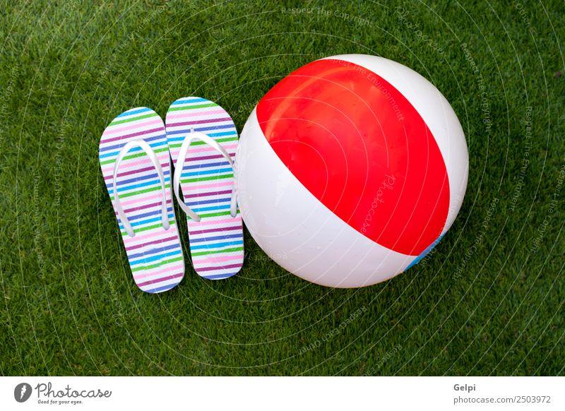 Flip-Flops auf dem grünen Gras des Pools exotisch Freude Erholung Spa Schwimmbad Freizeit & Hobby Spielen Ferien & Urlaub & Reisen Tourismus Ausflug Sommer