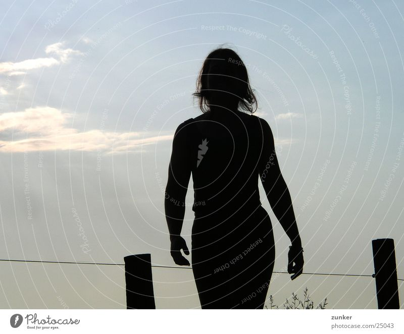 Sonne im Rücken Frau Himmel schwarz Wolken feminin Zaun blau-grau