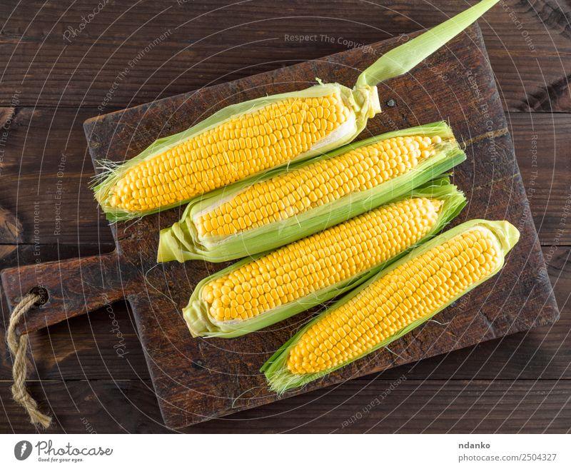 frische reife gelbe Maiskolben Gemüse Ernährung Vegetarische Ernährung Tisch Natur Pflanze Blatt Holz alt Essen natürlich oben braun Kolben Ackerbau Hintergrund