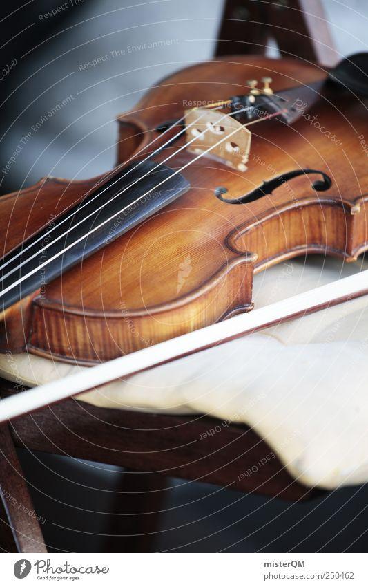 Kunstpause. Musik Kunst ästhetisch Pause Stuhl weich Veranstaltung edel Tradition Musikinstrument Geige Kunstwerk Barock Klassik altmodisch Klischee