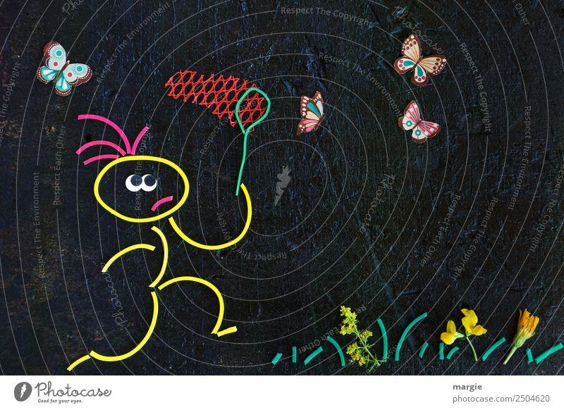 Gummiwürmer: ich kriege euch! Mensch Mann Sommer Pflanze Blume Tier schwarz Erwachsene gelb Blüte Frühling Wiese Gras Junge Freizeit & Hobby Park